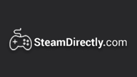 SteamDirectly.com Logo White, Shadow